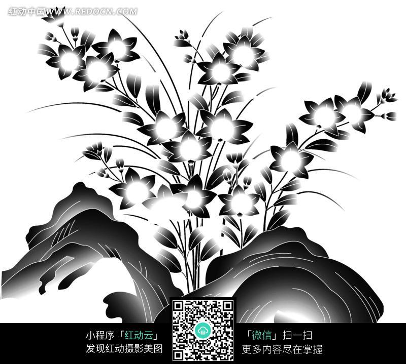 手绘黑白植物花朵花卉图形_花纹花边图片_红动手机版