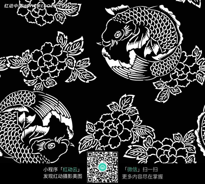 手绘团鲤牡丹花图案