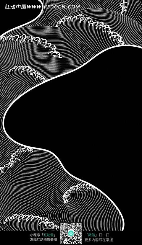 手绘线条流水纹