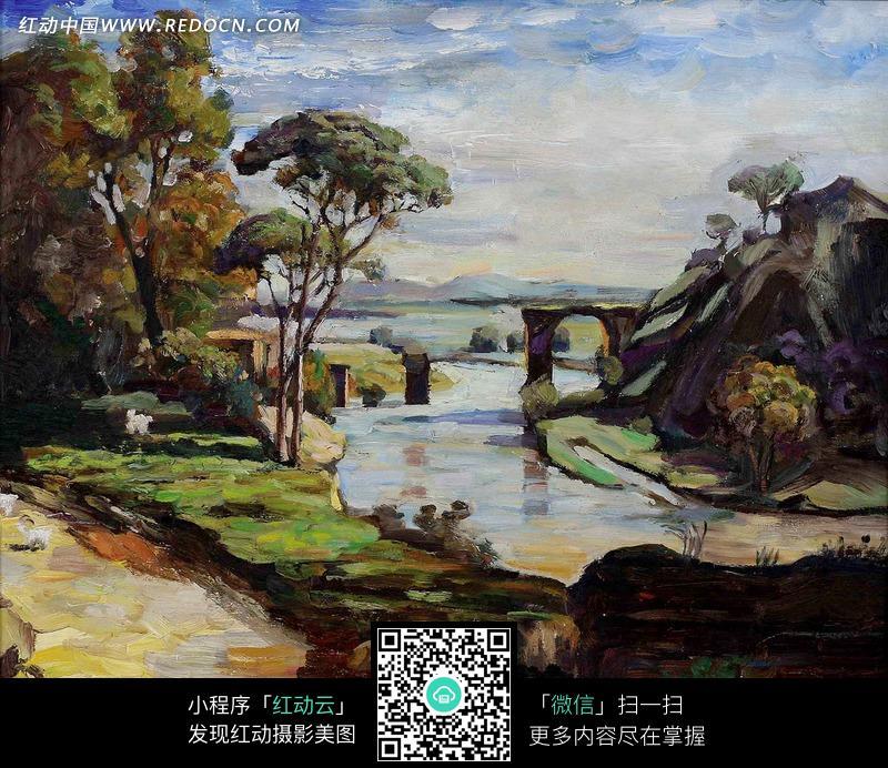 油画—蓝天白云下的溪流和树木图片