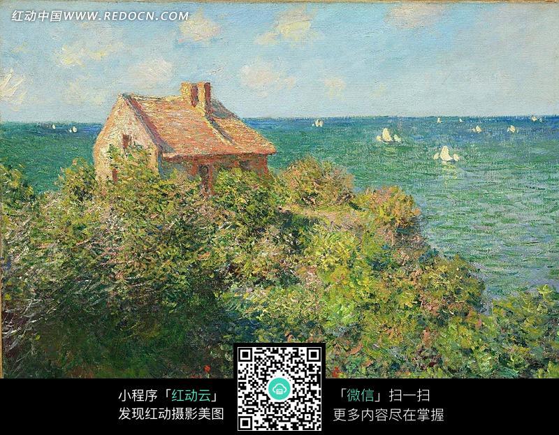 海边山坡上的小屋油画图片