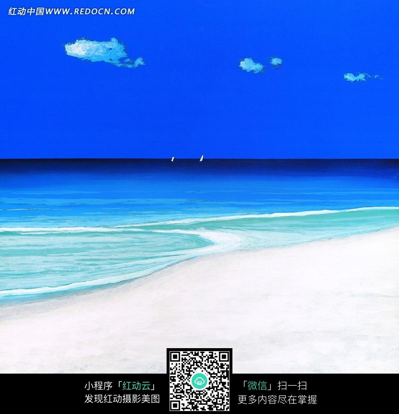 蓝天白云下的大海和白色沙滩油画图片