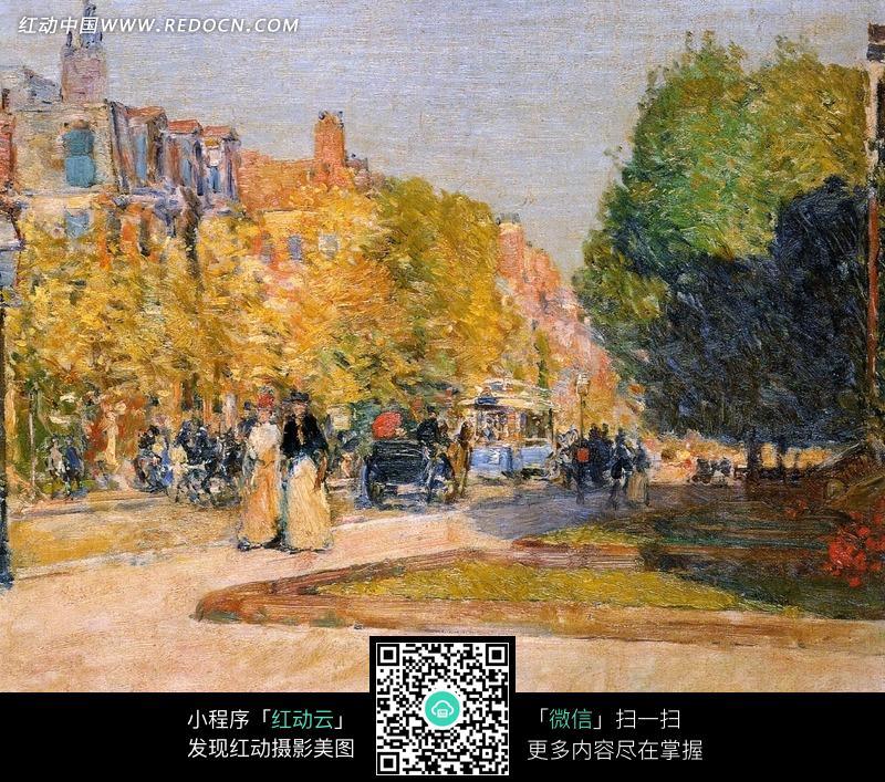 欧式街道上的树木和行人油画图片 传统书画 吉祥图案 艺术图片下载 1373269图片
