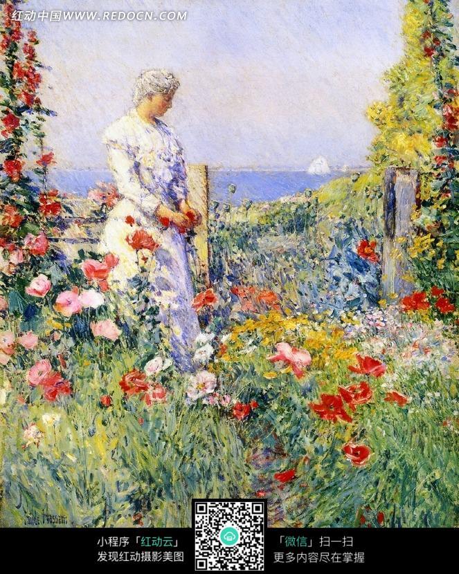 花丛中的女人油画