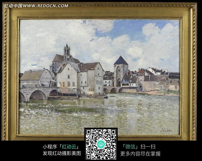 画框中的湖岸城市风景插画图片