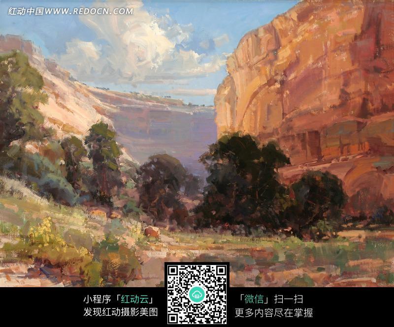 油画—蓝天白云下的岩石和树木图片