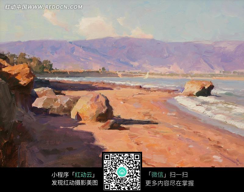 油画—海边的褐色岩石