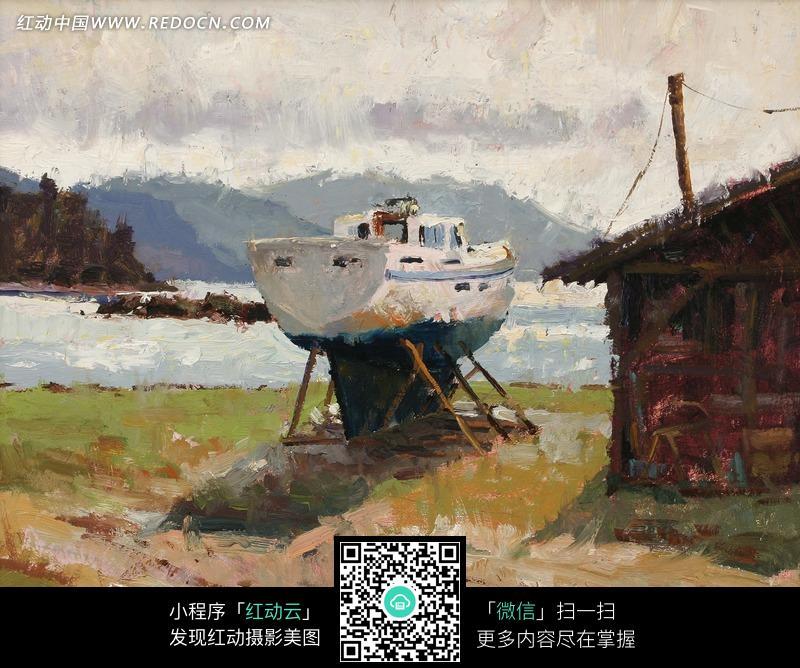 油画—木屋边草地上的船只图片
