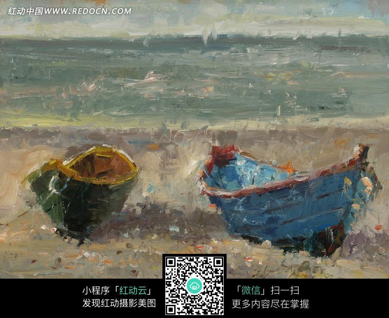 油画—海边沙滩上的木船