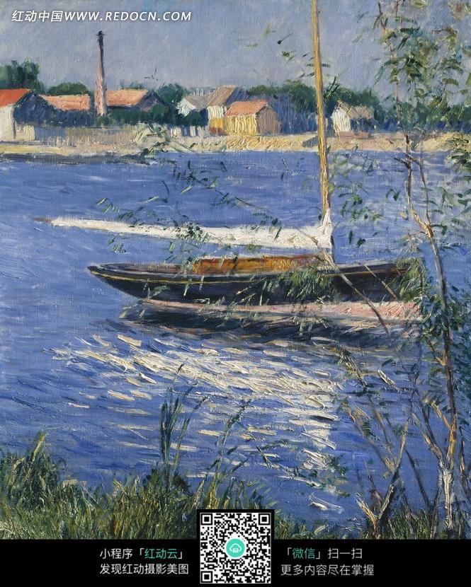 油画—小屋边河面上的木船