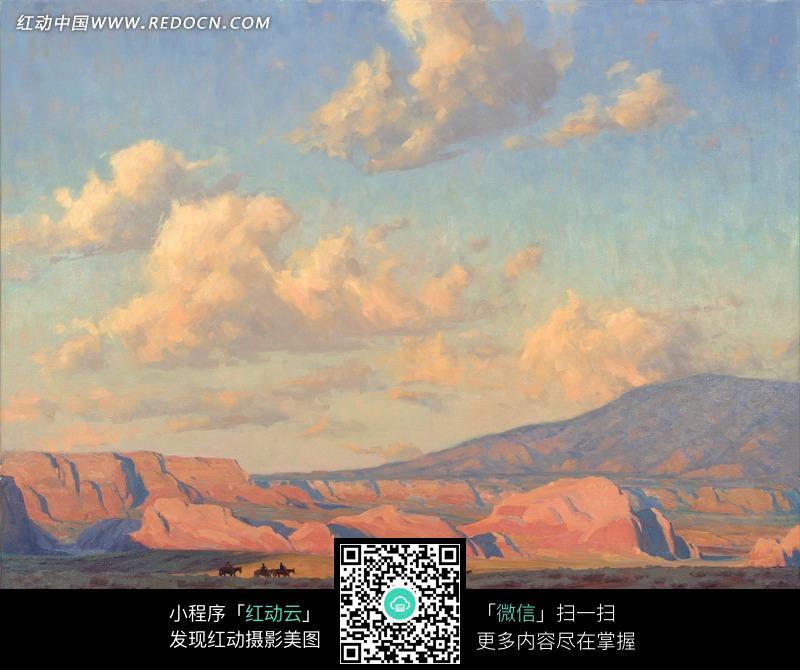 油画—傍晚天空下的棕色岩石图片