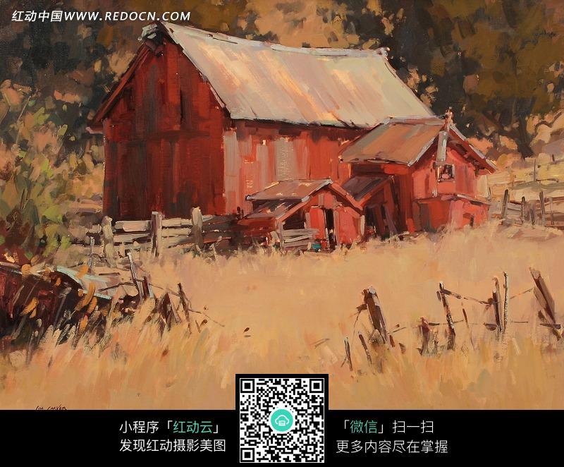 草地上的小木屋油画图片