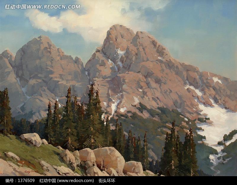 油画—褐色高山和树木图片