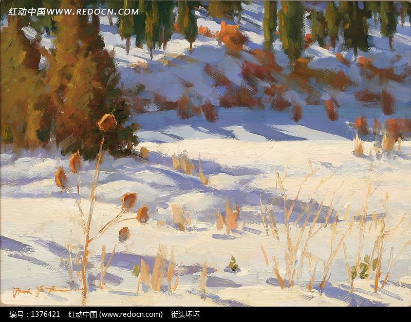 油画—雪地上的小木屋