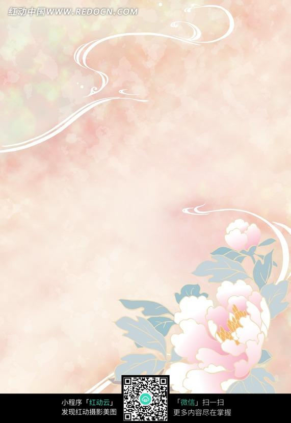 梦幻水纹手绘牡丹花图片_底纹背景图片