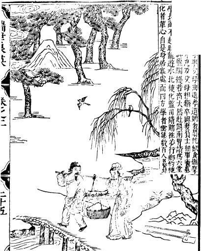 古代书籍人物插画-小桥上的扛着重物的男女
