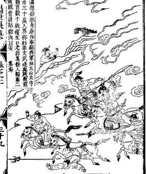 古代书籍人物插画-树木下的许多人物和房屋 古代书籍人物插画-许多