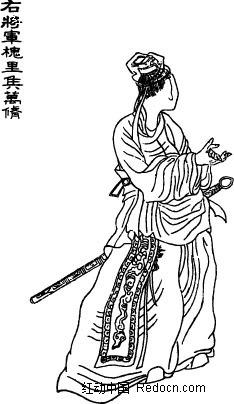 书画 肖像画 插画 手绘 人物线描 古代人物素材 矢量人物  矢量素材