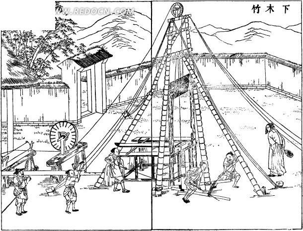 古代作业场景图—下木竹矢量图
