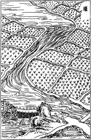 古代堰线描图