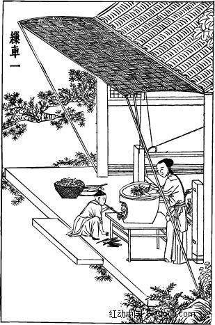 古代人物插画-房屋下的男子和女子