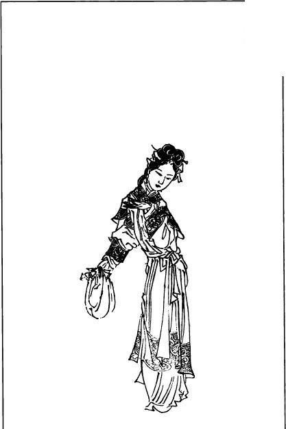 人物-古板画-古板画,人物; 古代人物白描图-手拿东西的女人矢量图