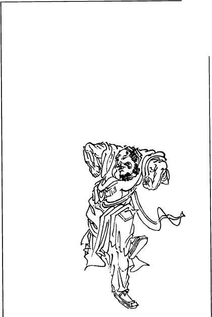 古代男子线描图矢量图图片