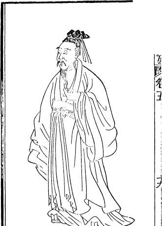 古代书籍人物插画-手粘胡须的男子图片