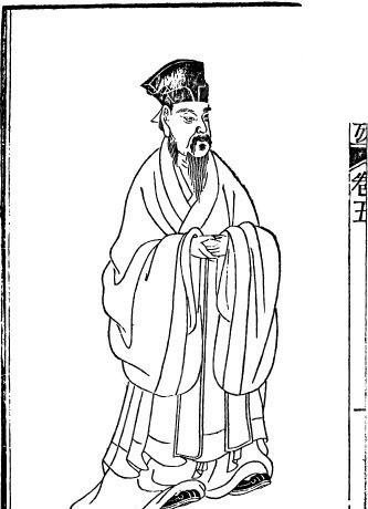 古代书籍人物插画-戴帽双手相握的男子图片