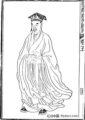 中国风黑白手绘插画 线稿