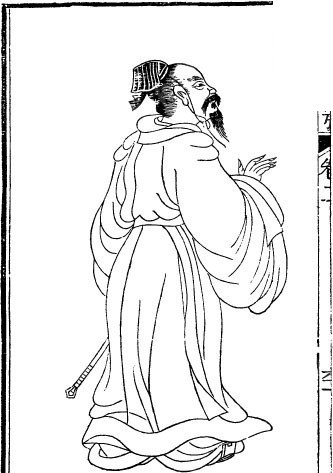 古代人物插画-伸出右手的男子的背影