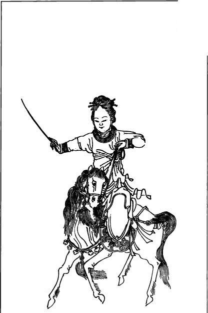 古代人物插画-骑着马的手持武器的女子