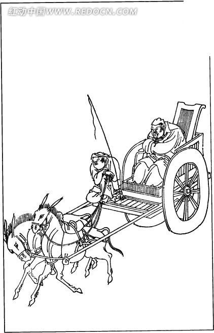 古代男子 马车 插画 手绘 人物线描 古代人物素材 矢量人物  书画