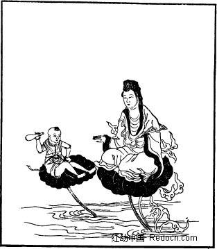 古代神话人物白描图谱-盘腿坐着的观音和童子
