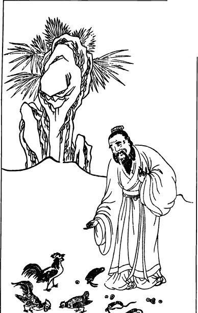 喂鸡的古代男子矢量图图片