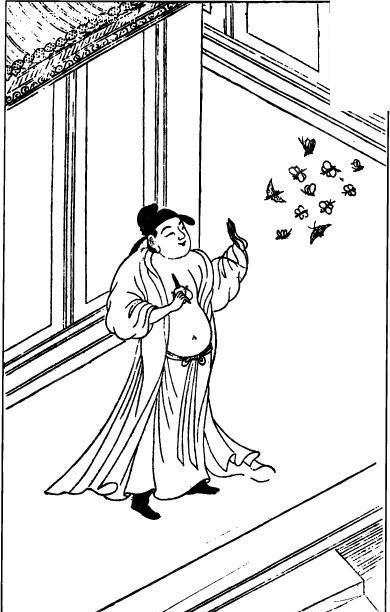 手绘图男加蝴蝶