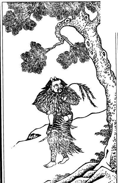 古代人物白描图谱-树下的拿着柳条的男子