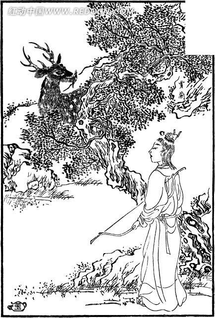 古代人物白描图谱-拿着弓箭的男子和鹿