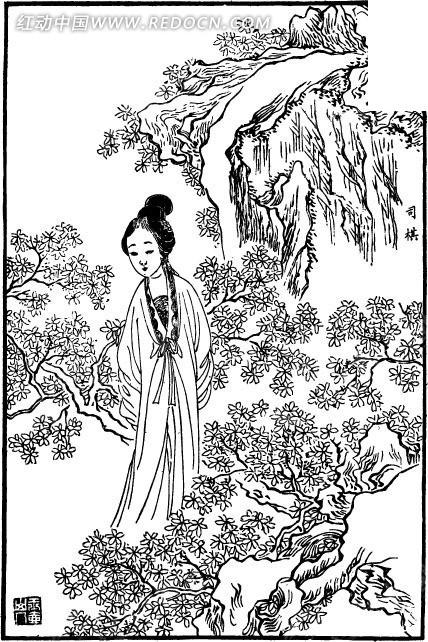 女子 美女 树木 山石 瀑布 中国风 中国古典 艺术 黑白 绘画 书画