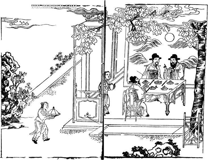 古代人物白描图谱-房屋里用餐的人物矢量图(编