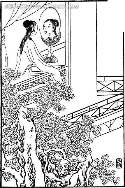古代人物白描图谱-照镜子的女子