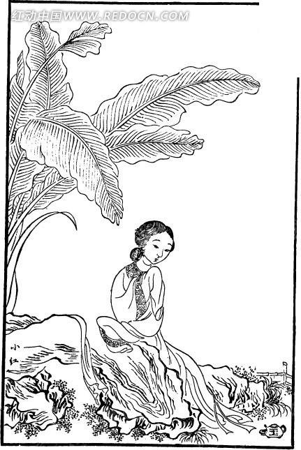 古代人物白描图谱-芭蕉树下坐着的女子