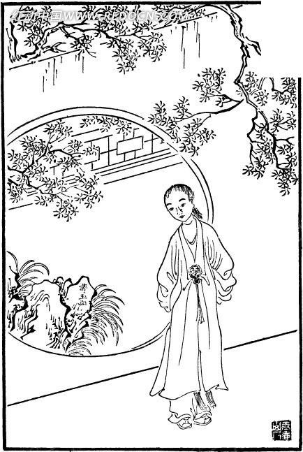 古代人物白描图-圆形门前的女子和树木