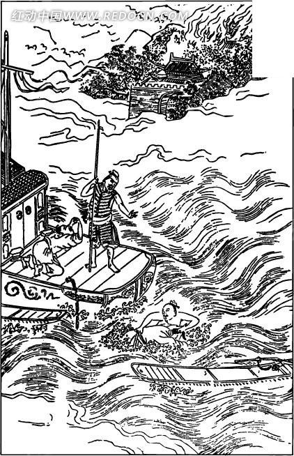 古代人物白描图-波浪上的船只和人物