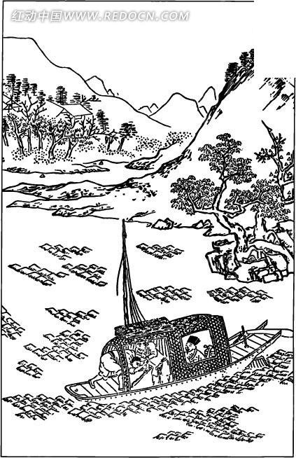 古代人物白描图谱-水波上的小船