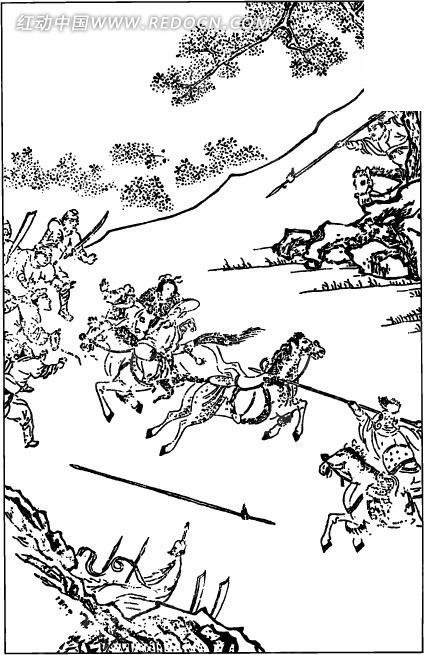 古代人物白描图-打仗的士兵