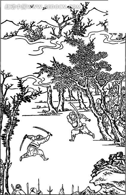 古代人物白描图-树木下的正在打架的男子
