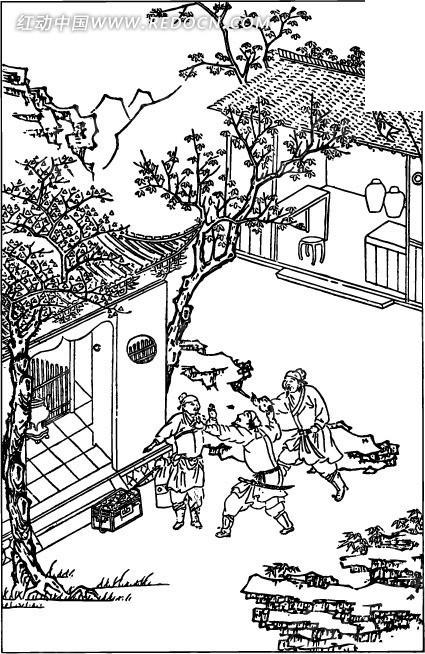 古代人物白描图-房屋和三个男子