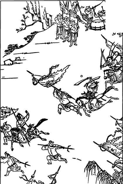 古代人物白描图-拿着旗子和武器的许多打仗的士兵