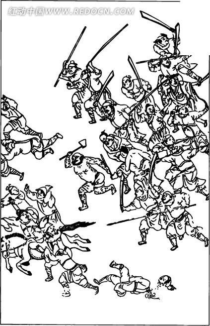 古代打仗场景; 求简单的人物铅笔画